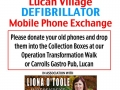 Liona O'Toole promoting phones for Lucan Village defibrillator